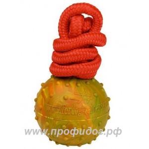 Пустотелый резиновый мяч на верёвке ForDogTrainers, 6 см