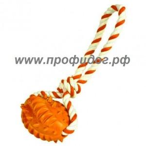 Мяч-регби рифленый на веревке для собак, 8 см