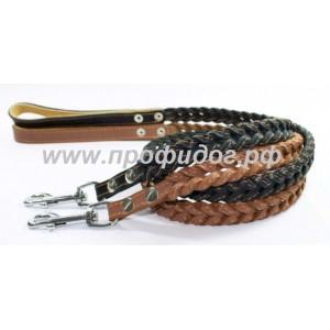 Поводок для собак кожаный плетеный