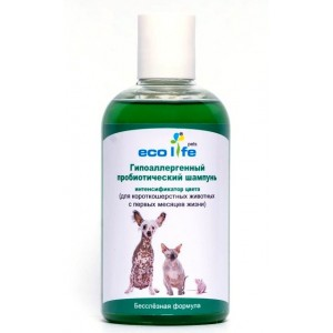 Средство для ухода за шерстью и кожей животных – пробиотический гипоаллергенный шампунь ECOLIFE